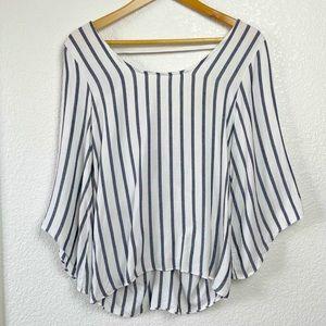 Drew Vertical Stripe Blouse Open Tie Back SZ M